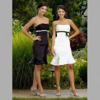 China Bridesmaid Dresses/Strapless Knee Length Gown, Ruched Bodice with Satin Band at Bust and Zip at back on sale