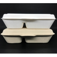 China Natural Color Conjoined 1000ml Disposable Lunch Box 2 Compartment Degradable wholesale