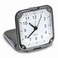 China Traveling Alarm Clock with Metal Case, Comes in Slim and Elegant, Logo Printings are Accepted on sale