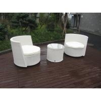 Waterproof White Resin Wicker Chair Set For Home / Restaurant Manufactures