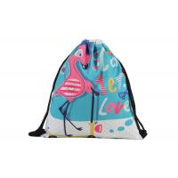 China Flamingo Personalized Cinch Bags , Custom Print Drawstring Bags With Logo wholesale