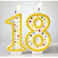 China Custom Arabic Number Birthday Candles 1 To 18 With Colorful Dot No Harmful wholesale