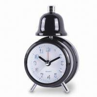 China Single Bell Alarm Clock with Metal Painted Case, Operated by One AA Battery wholesale