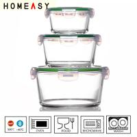 China Microwave Safe Pyrex Glass Containers , Heat Resistance Round Food Box wholesale