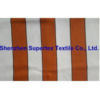 China Viscose Rayon Polyester Linen Slubby Orange Vertical Stripe Print 170GSM wholesale