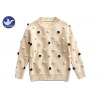 Pompom Ball Decoration Girls Pullover Sweaters Cute Cotton Mock Neck Knit Jumper