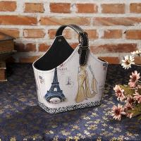 China All Occasion Leather Gift Basket Faux Leather Basket with Handles Reusable Magazine Basket Bag on sale