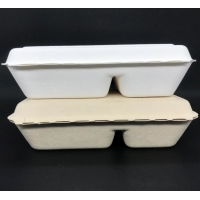 China Eco Biodegradable 1000ml 2 Compartment Lunch Box Surgance Pulp Tableware Food Container wholesale