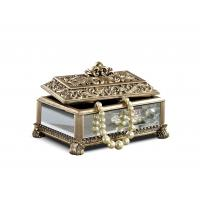 China Baroque Leaves Antique Gold Trinket Box / Beautiful Resin Jewelry Box wholesale