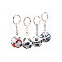 China Mini 3D Cartoon Pvc Rubber Keychain , Football Shape Soft Pvc Custom Keyrings wholesale