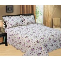 China Purple Flowers Full Size Bed Sets Soft Comfortable With 100% Polyester Material wholesale