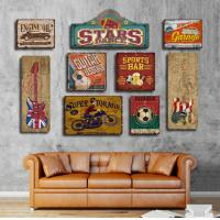 China Wooden Tin Signs Home Bar Hotel Club Wall Art Painting Plaque Party Public Decor Vintage Style  Abstract wood carved wholesale