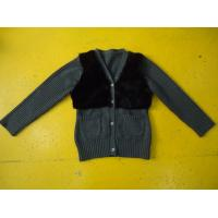 China Chic Girls Cardigan Sweaters , Faux Fur Blocked Chest Girls Button Down Sweaters wholesale