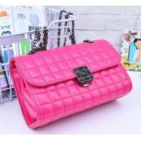 China Pink Genuine Quilted Leather HandbagsAlloy Chain Strap Western Style For Ladies on sale