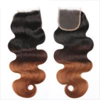 China Three Tone Virgin 4x4 Hair Closure , Hand Tied 4x4 Free Part Closure wholesale