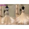 China Custom Made Champange Mermaid Style Wedding Dress With Boat Neckline Tulle wholesale