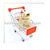China Small Supermarket Shopping Trolley with advertisement board in red and metal base in chrome wholesale