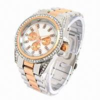 China Metal Watch with Alloy Case, Crystal Stone, Strap, IPG Plating, Chronograph Dial wholesale