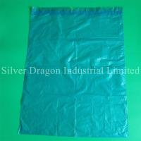 light blue drawstring garbage bags, made of HDPE, heavy duty, high quality,