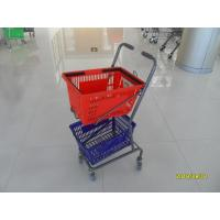 China Red / Blue Supermarket Shopping Trolley With 4 Swivel 3 Inch PVC Casters wholesale