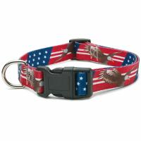 China All Seasons Polyester Dog Collar Buckle Type Customized American Flag Design wholesale