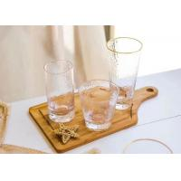 China Round Glass Drinking Cup Sets With Gold On Cup Side For Juice And Wine on sale