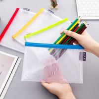 China Clear Mesh Grid Reusable Ziplock Bags / Zipper File Bags For Office Supplies wholesale