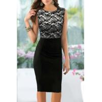 China Pinup Elegant Floral Lace Tunic Dress Knee-Length Colorblock Shift Bodycon Casual Pencil wholesale