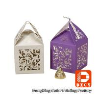 China Laser Cut Delicate Custom Printed Packaging Boxes , Purple Small Wedding Favor Boxes wholesale