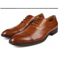 China Flat Cap Toe Mens Oxford Dress Shoes , Mens Brown Suit Shoes Low Heel Type wholesale