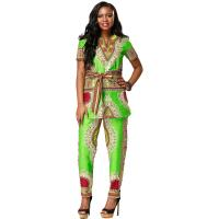 China Customized Size African Print Ladies Pants Suit For Summer / Spring / Autumn on sale