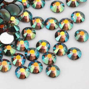 China OEM Hot Fix Flat Back Rhinestone Beads Golden Foil Glass Materail Grade AAAAA on sale