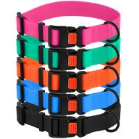 China Adjustable Colorful Waterproof Dog Collars Durable Nylon Webbing Easy To Wash wholesale