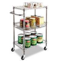 """China 3 - Tier Wire Rolling Cart / Food Chrome Steel Utility Cart 24""""W X 14""""D X 36""""H wholesale"""