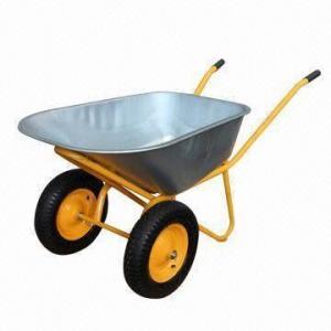 China Double Wheel Metal Wheelbarrows with 110L, Galvanized Tray, 320kg Load, 4.00-8 Wheel wholesale