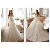 China Gorgeous Strapless A Line Wedding Dress / Beautiful French Lace Wedding Dress wholesale