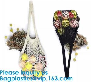 Organic Pure Cotton String Net Tote Shopping Bag with Long Handle Durable Washable Logo Customize Shopping Handbag Large