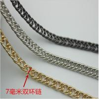 China Innovative design top quality iron material bag hardware 7 mm width light gold double metal chains for handbags wholesale