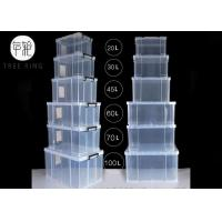 China 32 Liters Clear Plastic Foldable Container , Food Grade Plastic Stacking Crates on sale