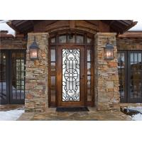 China Scroll Work Filled Wrought Iron Glass Door , Single Iron Doors Maintenance Free wholesale