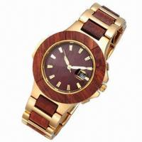 China Fashion Sandal Watch with Stainless Steel and Wooden Case/Strap wholesale