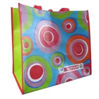 China Supermarket colorful 120gsm handy recyclable PP woven shopping bags wholesale
