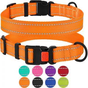 China Reflective Soft Nylon Adjustable Dog Collars With Buckles 5 Sizes Optional wholesale
