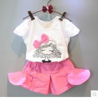 China 2016 Fashion Kid's Cartoon Pattern Summer Prince Style Top+Cute Pinky Shorts Pants 2 PCS wholesale