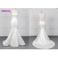 China Micado A Line Halter White Mermaid Wedding Dress Spring Modern Bridal Wear wholesale