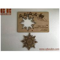 China Christmas cards Personalised wooden greeting cards Wood snowflake card Christmas gift on sale