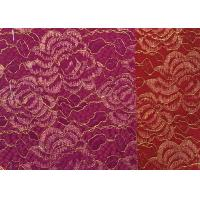 China Red Golden Embroidery Sequin Lingerie Lace Fabric For Wedding Dress , Decoration Lace Fabric wholesale