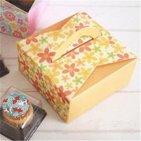 China Customized Take Away Cake Cardboard Boxes Folding With Handle Full Color Printing wholesale