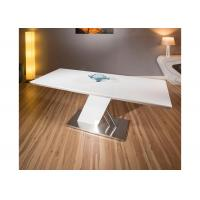 China White Gloss Extendable Modern Dining Table Furniture Foldable Metal Frame wholesale