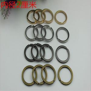 China Hang Chain Hook DIY Craft Key Hardware Nickel Color Iron Round Flat Split Key Ring wholesale